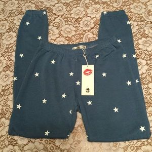 Wildfox Med. Blue With Stars Sweatpants Small